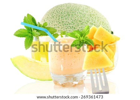 cantaloupe smoothie or milkshake with fruit and stevia in pure white background - stock photo
