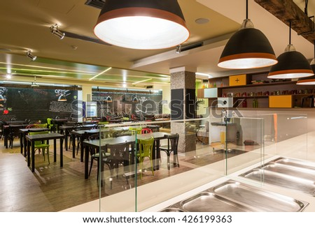 Canteen in office building - stock photo