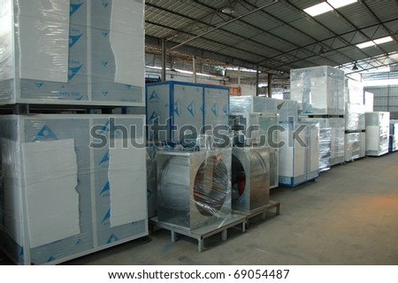 CANTON, CHINA - NOVEMBER 11: One of the biggest manufacturer of auto spray booths and generators in China. Generators warehouse on November 11, 2010 in Canton, China. - stock photo