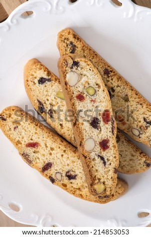 Cantucci in the white saucer. - stock photo