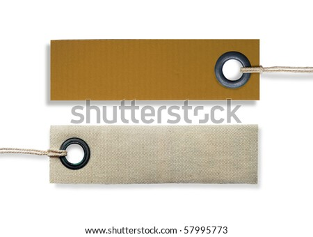 canvas and cardboard blank clothing label on a white background - stock photo
