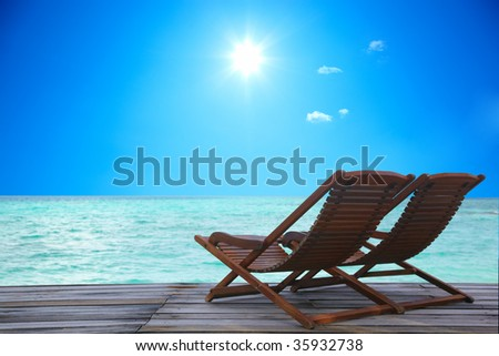 Canvas Chair on tropical - stock photo