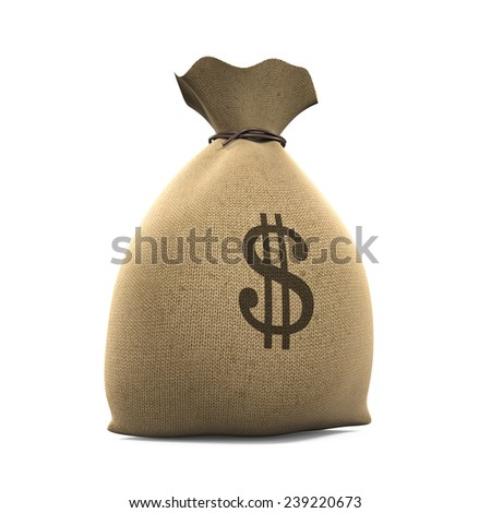 Canvas Money Sack - stock photo