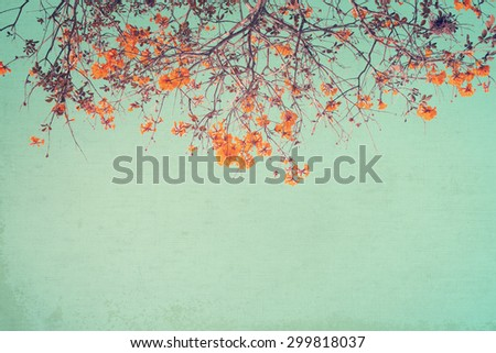 canvas paper art texture of vintage tree flower  - stock photo