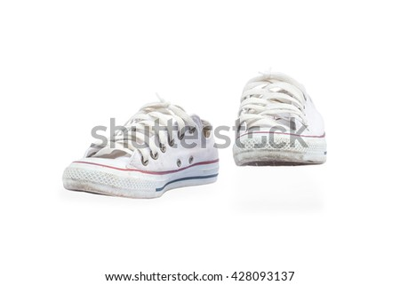 canvas shoes on a white background,with clipping path - stock photo