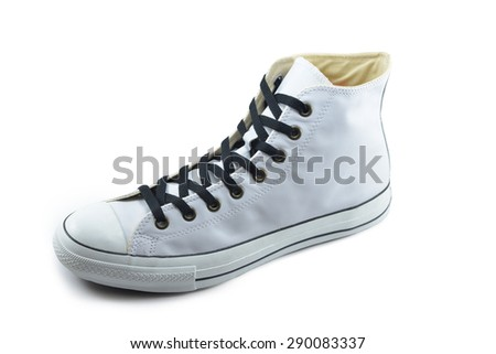 canvas shoes white on white background - stock photo