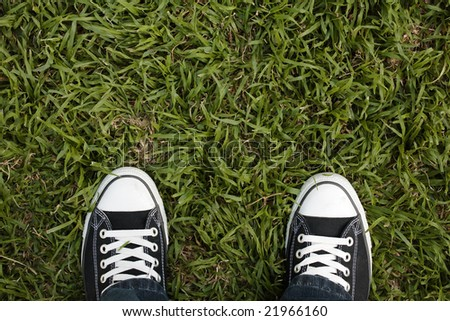 Canvas sneakers on grass, top view, copy space - stock photo