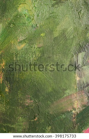 Canvas with oil paints green colors. Bright saturated abstract background, space for text. The concept of a creative atmosphere, artistic events, education, etc. - stock photo