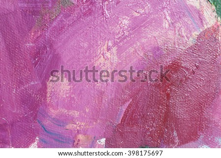 Canvas with oil paints magenta colors. Bright saturated abstract background, space for text. The concept of a creative atmosphere, artistic events, education, etc. - stock photo