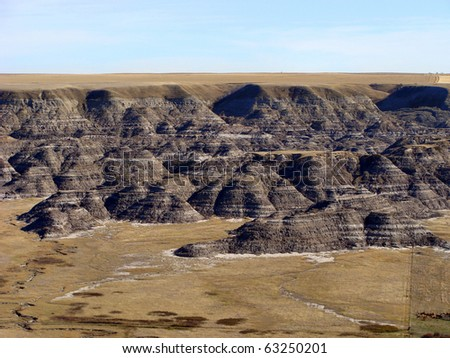 Canyon in the Alberta badlands - stock photo