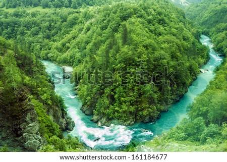 Canyon of mountain river Tara, Montenegro. Nature landscape.  - stock photo