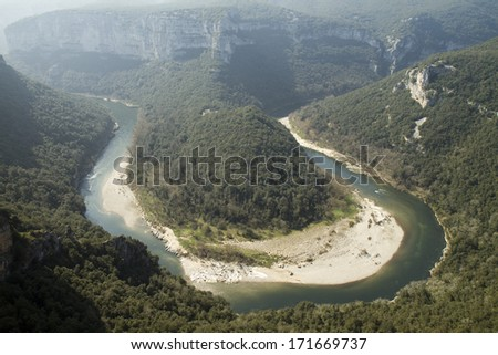 """Canyon of the river """"Ardeche"""" in the south of France - stock photo"""