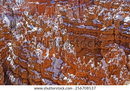 Canyon walls, or fins, at Bryce Canyon National Park have formed an area that looks like a pocket. - stock photo