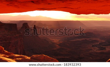Canyonlands National Park Mesa Arch Sunrise in Utah USA - stock photo
