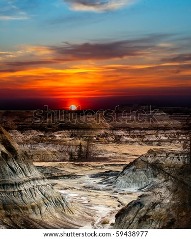Canyons and Hoodoos near Drumheller in the Alberta Badlands, Canada - stock photo