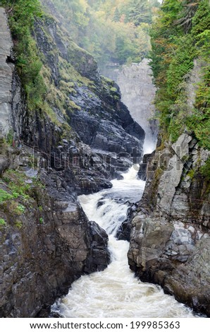Canyons and waterfalls of Ste. Anne de Beaupre, Quebec. - stock photo