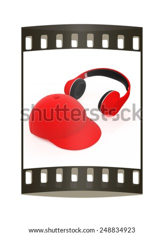 cap and headphones on a white background. The film strip - stock photo