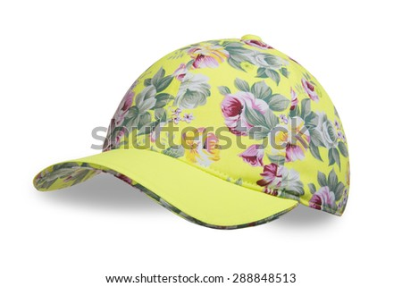 Cap for girl white background - stock photo