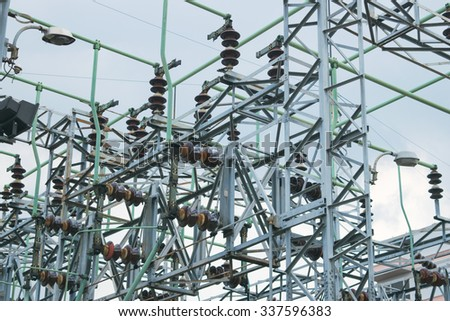 Capacitor bank of electricity in Thailand - stock photo
