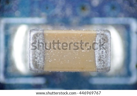 capacitor macro smd pcb solder electronic circuit - stock photo