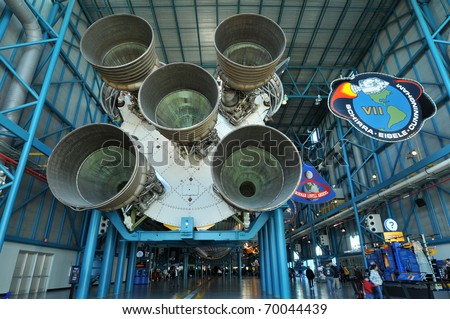 CAPE CANAVERAL, FL- DEC 28: Saturn V rocket displayed in the Apollo/Saturn V Center, at the Kennedy Space Center, NASA in Florida on December 28, 2010. - stock photo