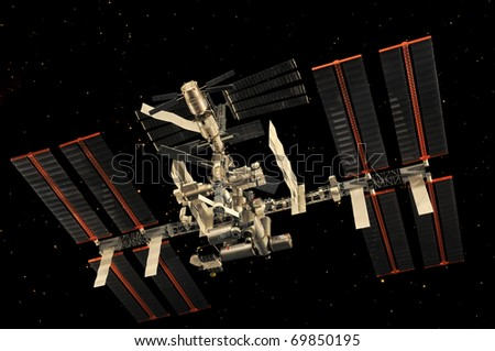 CAPE CANAVERAL, FL- JAN 2: Miniature of the International Space Station in outer space displayed at NASA, Kennedy Space Center in Florida, January 2, 2011. - stock photo