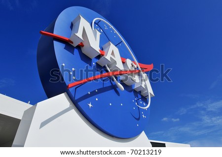CAPE CANAVERAL, FL- JANUARY 2: The NASA's Logo Signage at the Kennedy Space Center, NASA in Florida on December 28, 2010. - stock photo