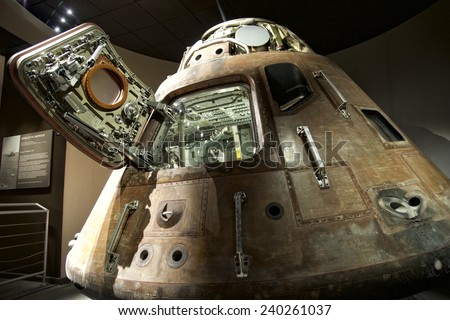 CAPE CANAVERAL, FLORIDA DECEMBER 5, 2014: Apollo 13 LEM capsule displayed at NASA, Kennedy Space Center in Florida. Apollo 13 was the third manned mission intended to land on the Moon. - stock photo