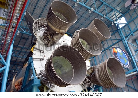 Cape Canaveral, Florida, USA - May 6, 2015: Apollo V11 rocket on display at Kennedy Space Centre - stock photo