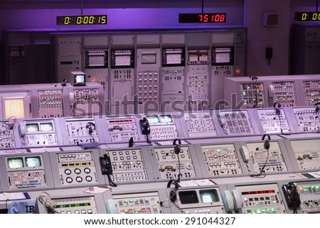 CAPE CANAVERAL, November 1th, 2014.  The NASA's Control Station displaying control panels, countdown clocks and communication devices at Kennedy Space Center in Florida. - stock photo