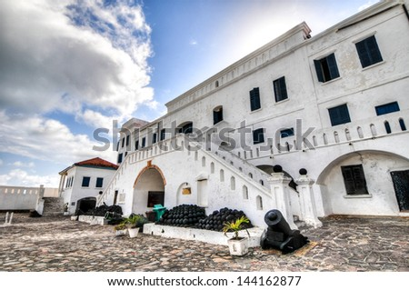 Cape Coast Castle is a fortification in Ghana built by Swedish traders for trade in timber and gold. Later the structure was used in the trans-Atlantic slave trade. - stock photo