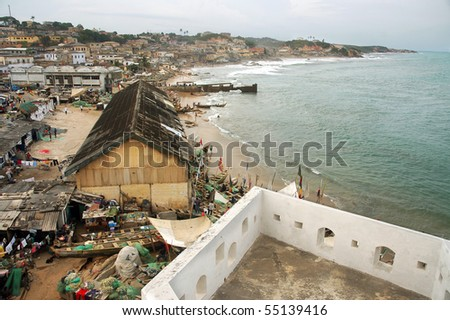 Cape Coast township and foreshore from the castle - stock photo