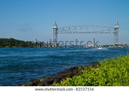 Cape Cod Canal Railroad bridge - stock photo