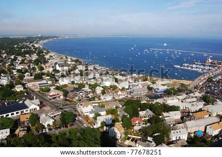 Cape Cod seashore, viewed from Pilgrim Monument, Massachusetts - stock photo