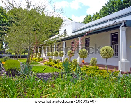 Cape Dutch cottage in the winelands of South Africa - stock photo