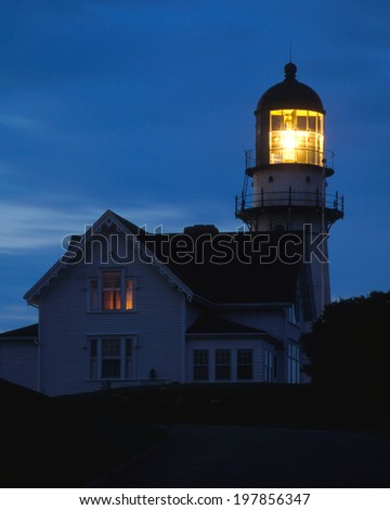 Cape Elizabeth lighthouse is one of the most powerful lighthouses on the Maine coast. - stock photo