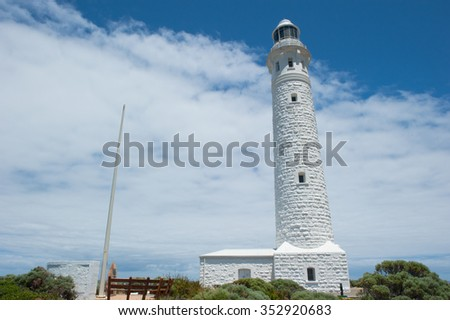 Cape Leeuwin Lighthouse, near town of Augusta, Western Australia, where Southern and Indian Ocean meet. - stock photo