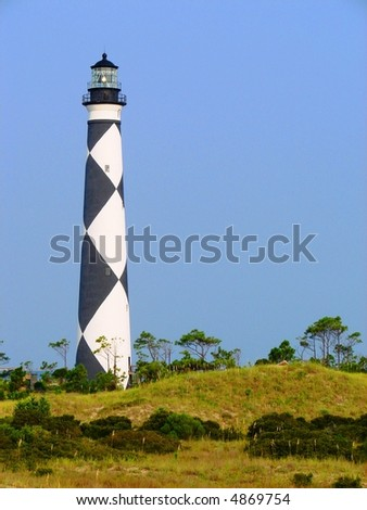 Cape Lookout lighthouse on the Outer Banks, NC - stock photo