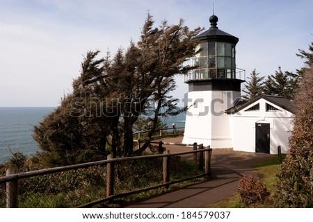 Cape Mears Lighthouse Pacific West Coast Oregon United States - stock photo