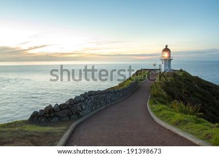 Cape Reinga Lighthouse in New Zealand. - stock photo