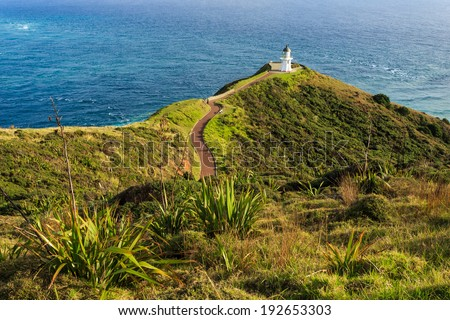 Cape Reinga Lighthouse, North Island, New Zealand - stock photo