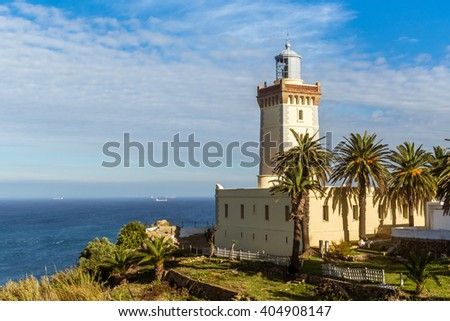 Cape Spartel, promontory at the entrance to the Strait of Gibraltar, 12 km West of Tangier, Morocco. - stock photo