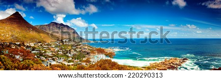 Cape Town city panoramic image, Africa, coastal town near high mountains, beautiful aerial view, wonderful landscape, travel and tourism concept  - stock photo
