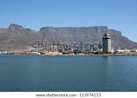 Cape Town Harbor with table mountain - stock photo