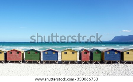 Cape town region Muizenberg Beach houses - stock photo
