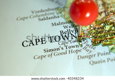 Cape Town, South Africa, home of the Soccer World Cup,  on map - stock photo