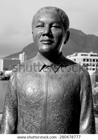 CAPE TOWN SOUTH AFRICA MAY 25 2009: Statue of Nelson Mandela gave 27 years if his life to see a free and peaceful South Africa and was awarded the Nobel Peace prize in 1993 in Nobel Square Cape Town - stock photo