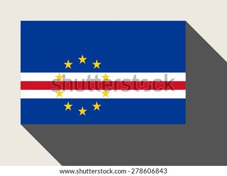 Cape Verde flag in flat web design style. - stock photo