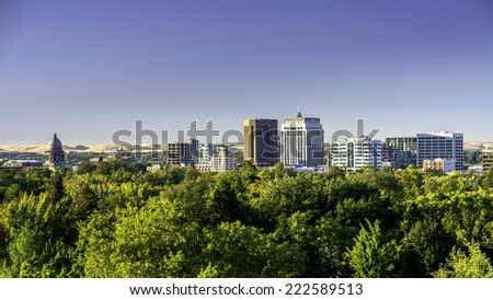 Capital city of Boise Idaho at sunrise - stock photo