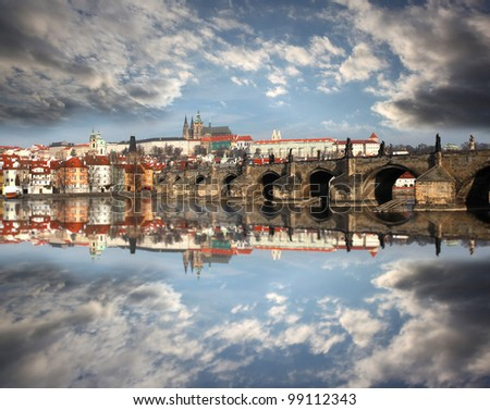 Capital city, Prague with Charles Bridge in Czech Republic - stock photo